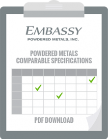 Free Powdered Metal Specifications Comparisons Chart.