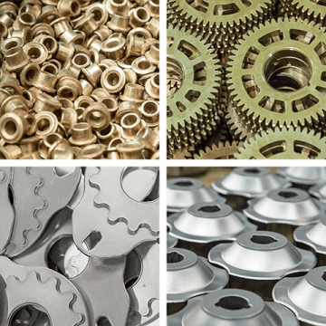 Examples of finished brass, copper and steel powdered metal parts