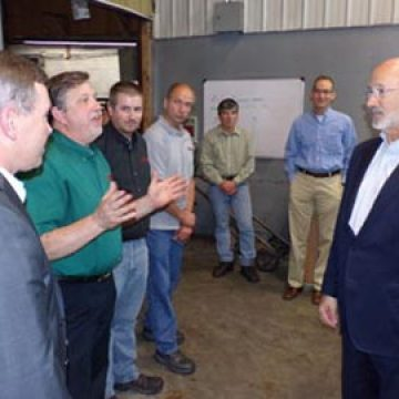 Pennsylvania Governor Tom Wolf touring the Embassy Powdered Metals manufacturing facilities