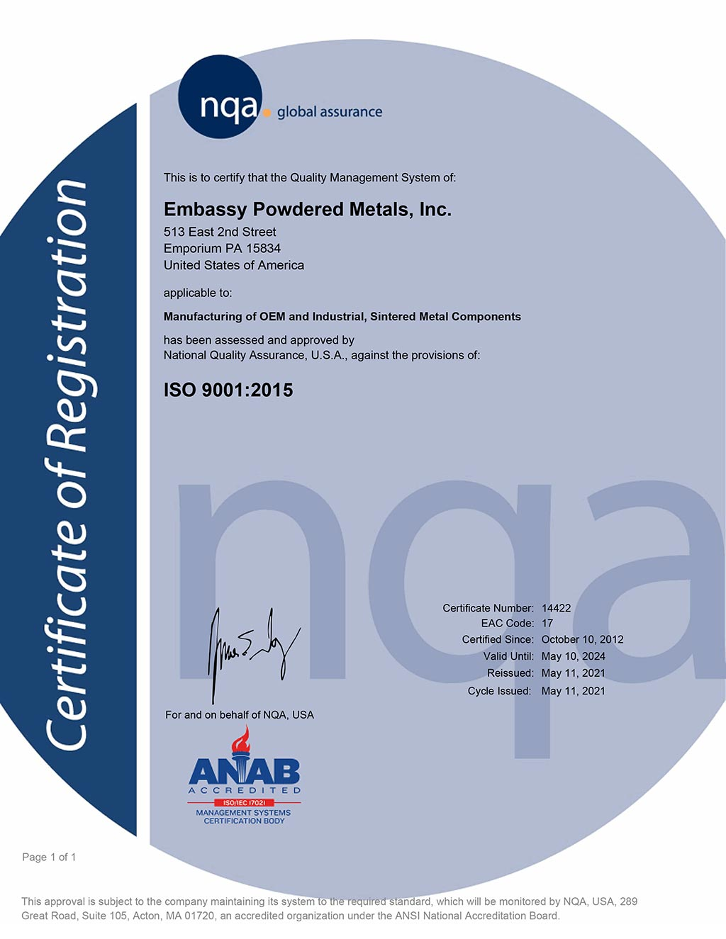 ISO 9001:2015 Certificate for Embassy Powdered Metals